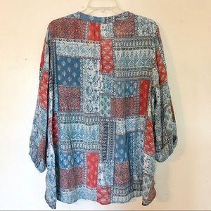 Fred David Tops - Plus size boho patterned long sleeve blouse